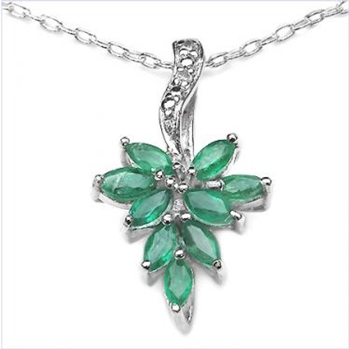 Ladies' Emerald  and Diamond Pendant on Sterling Silver