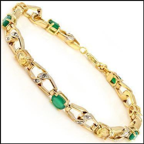Ladies' Emerald, Citrine and Diamond Bracelet on Gold