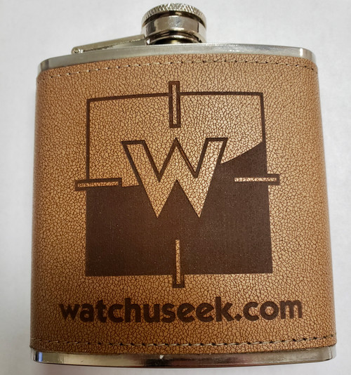 Watchuseek Leather Bound Stainless Steel Flask