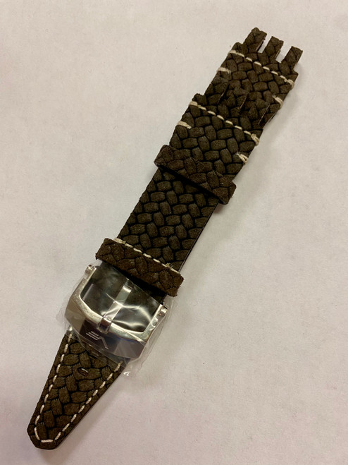 Vostok Europe XL Energia-2 Italian Leather Strap 26mm Woven Brown with White Stitching Polished Buckle