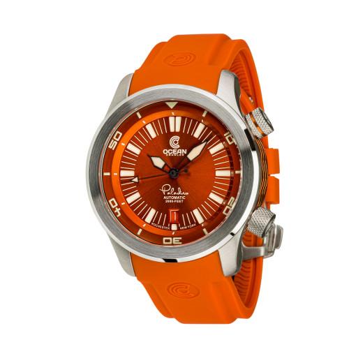 Ocean Crawler Paladino WaveMaker Orange Automatic watch 3-strap kit