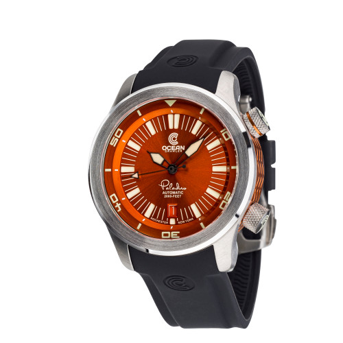 Ocean Crawler Paladino WaveMaker Orange-Black Automatic watch 3-strap kit