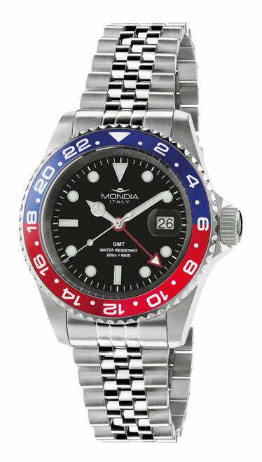 Mondia Italy Madison GMT Classic Watch MI-799-SSBLRD-BK-GB