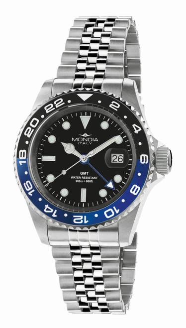 Mondia Italy Madison GMT Classic Watch MI-799-SSBLBK-BK-GB