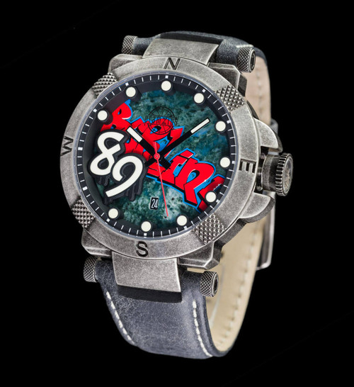 The Fall Of The Berlin Wall Swiss Movement Watch - 42mm Colored Dial - Leather