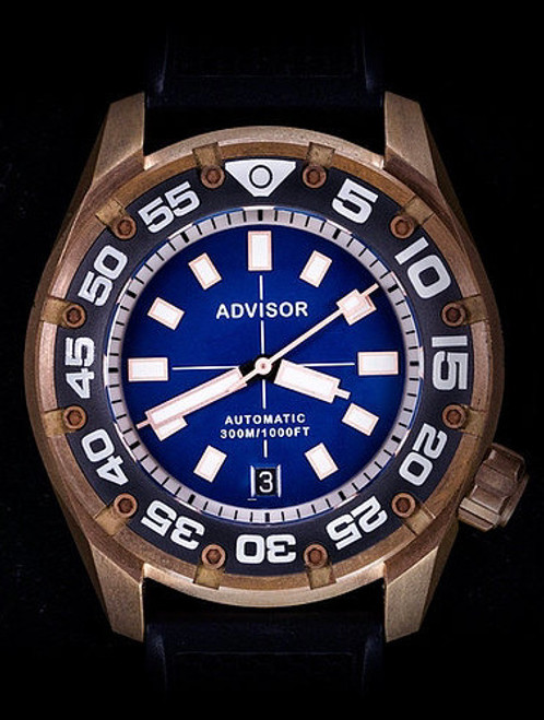 SUPA Diver Bronze Automatic Watch with Swiss Movement Blue Ocean
