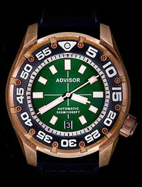 SUPA Diver Bronze Automatic Watch with Swiss Movement Green Monster