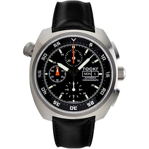 Tockr Chronograph - Black - Leather - 45mm - Automatic