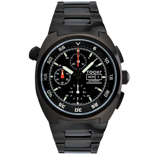 Tockr Chronograph - PVD - Black - Stainless - 45mm - Automatic