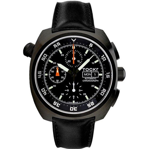 Tockr Chronograph - PVD - Black - Leather - 45mm - Automatic
