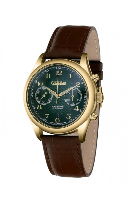 Slava Premier Russian Green-Dial Automatic Chronograph In-House Movement Watch 1889254/300-4617