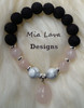 AROMATHERAPY DIFFUSER BRACELET ROMANCE WITH ROSE QUARTZ DROP
