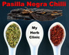 MY HERB CLINIC ® PASILLA NEGRO WHOLE CHILLI CHILI 1st GRADE PREMIUM QUALITY