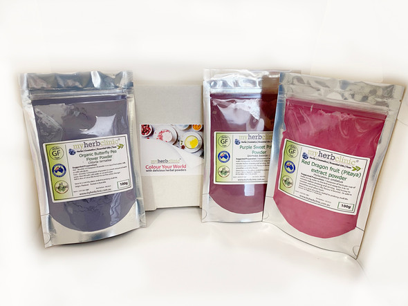 MY HERB CLINIC ® COLOUR YOUR WORLD GIFT BOX - Blue Butterfly Pea Powder, Purple Sweet Potato Powder, Red Dragonfruit Powder