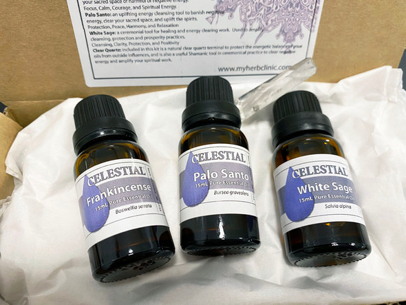 CELESTIAL® Shaman's Essentials Kit - Essential Oil Gift Box Pack - 3x 15mL Oils - Therapeutic Grade Frankincense, Palo Santo, White Sage, and Natural Clear Quartz Terminal