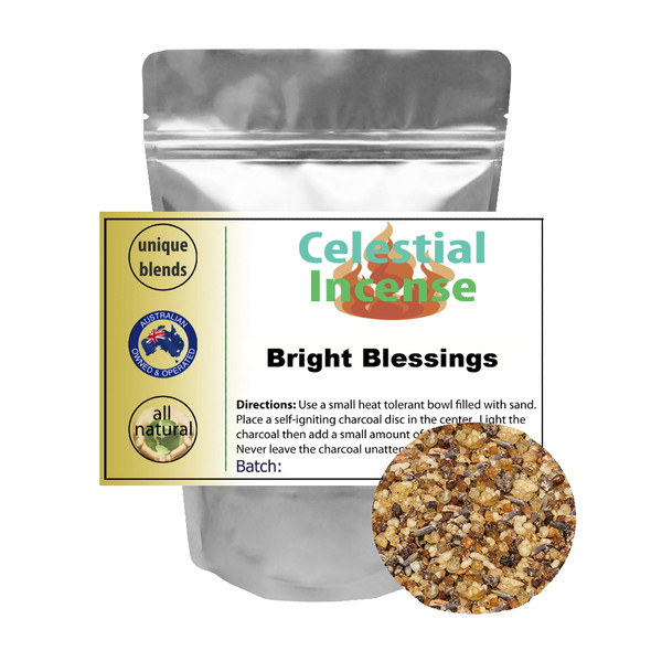 CELESTIAL ® BRIGHT BLESSINGS INCENSE PROTECTION PURIFY DEFENSE SACRED SPACES 25g