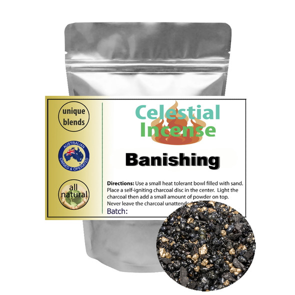 CELESTIAL ® BANISHING RESIN INCENSE - PROTECTION BANISH EVIL AND NEGATIVE - 25g