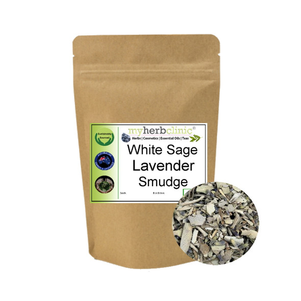 MY HERB CLINIC ® WHITE SAGE & LAVENDER - CLEANSING & PROTECTING - SMUDGE - INCENSE