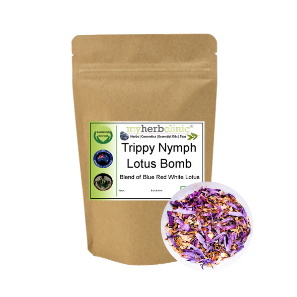 MY HERB CLINIC ® TRIPPY NYMPH LOTUS BOMB ORGANIC BLUE RED WHITE LOTUS HERBAL TEA ~ CALMING RELAX MELLOW