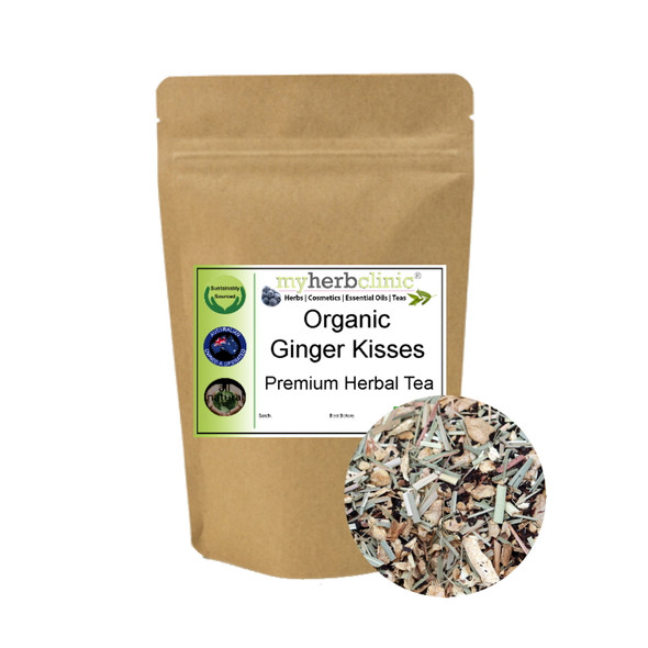 MY HERB CLINIC  ® GINGER KISSES ORGANIC HERBAL TEA BLEND - DIGESTION SNIFFLES