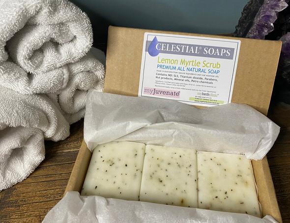 CELESTIAL® LEMON MYRTLE SCRUB PREMIUM QUALITY SOAP BARS Set of 3 Box