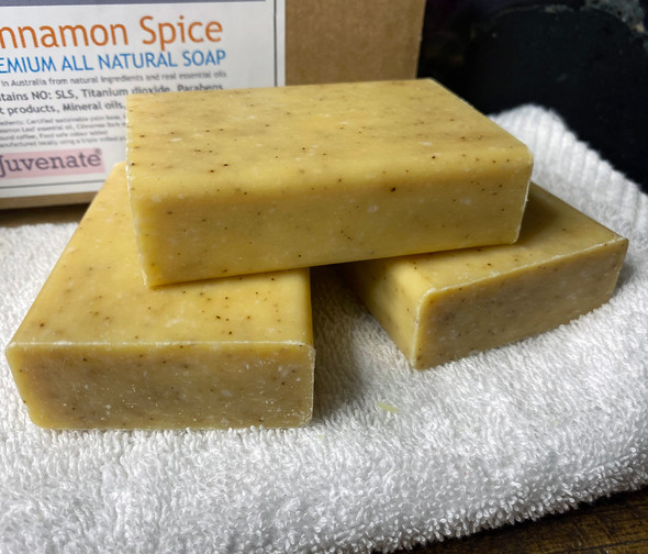 CELESTIAL® CINNAMON SPICE COFFEE SCRUB PREMIUM QUALITY SOAP BARS Set of 3 Box