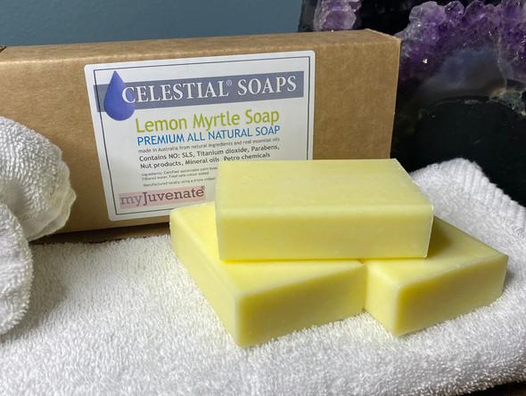 CELESTIAL® LEMON MYRTLE PREMIUM QUALITY SOAP BARS Set of 3 Box