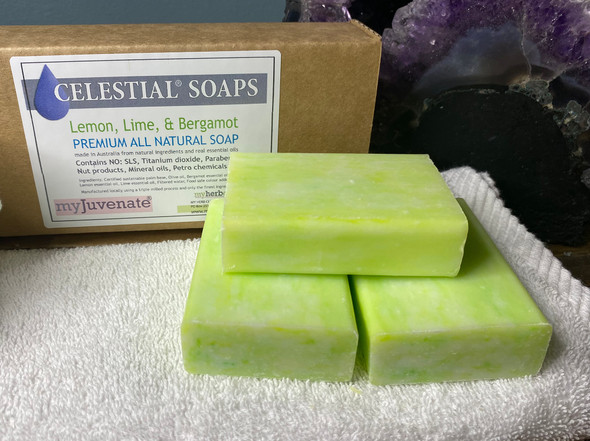 CELESTIAL® LEMON LIME BERGAMOT PREMIUM QUALITY SOAP BARS Set of 3 Box