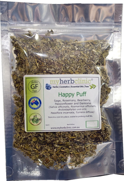 HAPPY PUFF ORGANIC HERBAL HERB TEA ~ CALMING MOOD DAMIANA ROSEMARY PASSIONFLOWER