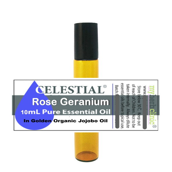 CELESTIAL ® ROSE GERANIUM THERAPEUTIC ORGANIC ROLL ON ESSENTIAL OIL DEPRESSION ANXIETY
