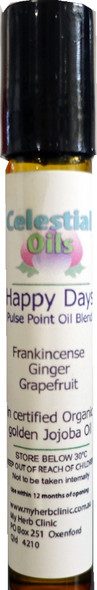 HAPPY DAYS PULSE POINT ROLL ON - THERAPEUTIC GRADE ESSENTIAL OILS - BE HAPPY