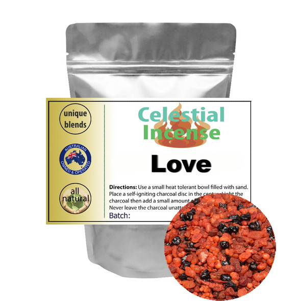 CELESTIAL ® LOVE RESIN BLEND PREMIUM INCENSE - TO ENHANCE ALL LOVE - 25g