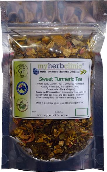 MY HERB CLINIC ® SWEET TURMERIC TEA ~ WHITE TEA GREEN TEA ROSEHIPS CALENDULA