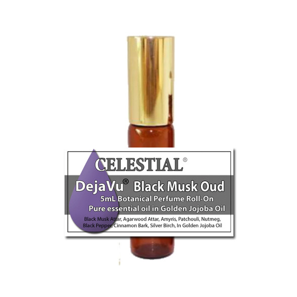 DejaVu® BLACK MUSK OUD ORGANIC ROLL ON BOTANICAL PERFUME - EARTHY & WOODY NOTES - GOTH