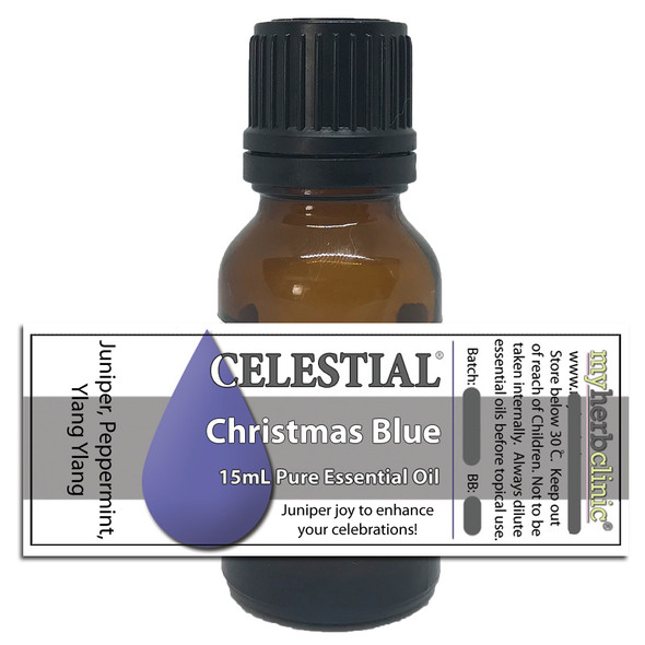CHRISTMAS BLUE THERAPEUTIC GRADE PURE ESSENTIAL OIL JUNIPER - YLANG - PEPPERMINT
