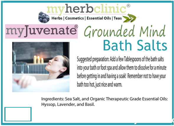 GROUNDED MIND ~ AROMATHERAPY BATH SALTS ~ ESSENTIAL OILS ~ EMOTIONAL STABILITY