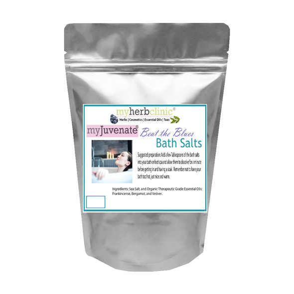 BEAT THE BLUES ~ FUNCTIONAL PREMIUM AROMATHERAPY BATH SALTS ~ ESSENTIAL OILS