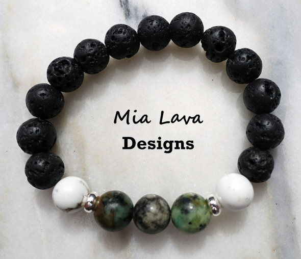 AROMATHERAPY DIFFUSER BRACELET GOOD FORTUNE - AFRICAN TURQUOISE