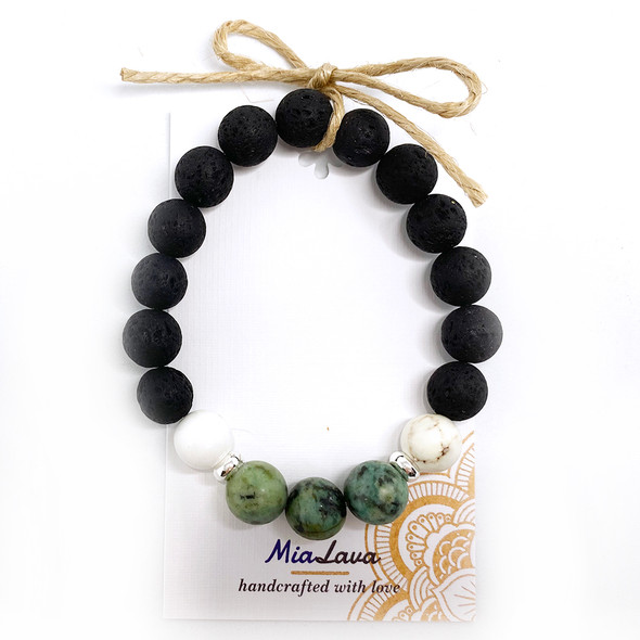MiaLava | CRYSTAL AROMATHERAPY DIFFUSER BRACELET GOOD FORTUNE - AFRICAN TURQUOISE