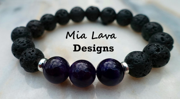 AROMATHERAPY DIFFUSER BRACELET HEALING SPACES - AMETHYST & LAVA