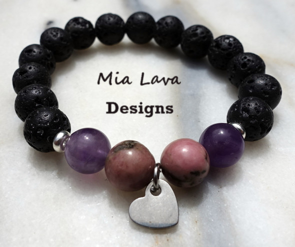 AROMATHERAPY DIFFUSER BRACELET LOVE IS FOREVER WITH HEART CHARM