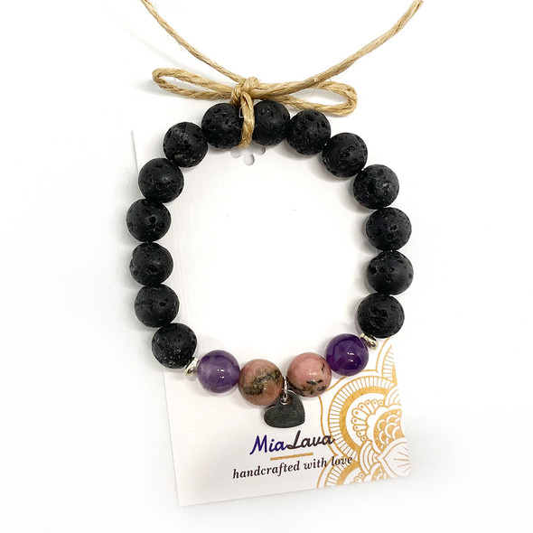 MiaLava | CRYSTAL AROMATHERAPY DIFFUSER BRACELET LOVE IS FOREVER WITH HEART CHARM