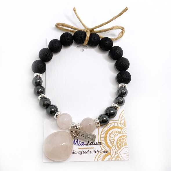 MiaLava | CRYSTAL AROMATHERAPY DIFFUSER BRACELET HOPE WITH SILVER CHARM
