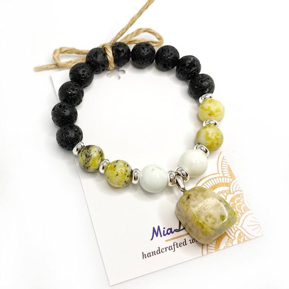 MiaLava | CRYSTAL AROMATHERAPY YELLOW TURQUOISE DIFFUSER BRACELET PERSONAL POWER