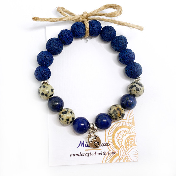MiaLava | DIFFUSER BRACELET I AM POSITIVE WITH SILVER HEART CHARM