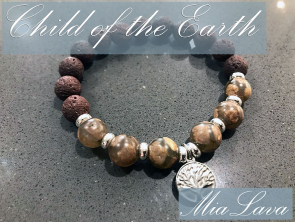 CRYSTAL AROMATHERAPY DIFFUSER BRACELET CHILD OF THE EARTH - TREE OF LIFE