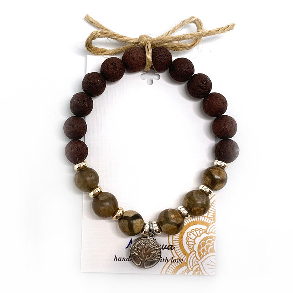 MiaLava | CRYSTAL AROMATHERAPY DIFFUSER BRACELET - CHILD OF THE EARTH - TREE OF LIFE