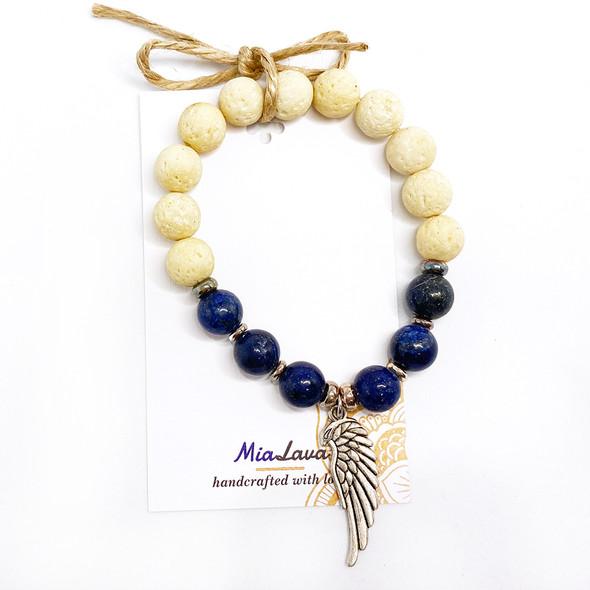 MiaLava | CRYSTAL AROMATHERAPY DIFFUSER BRACELET ANGELIC WISDOM WITH ANGEL CHARM