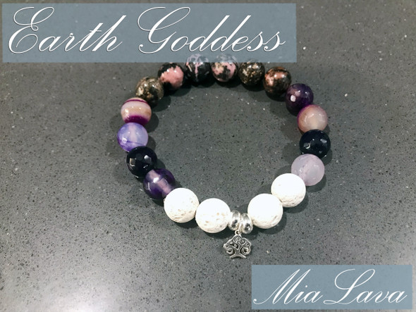 AROMATHERAPY DIFFUSER BRACELET - EARTH GODDESS - SILVER TREE OF LIFE CHARM