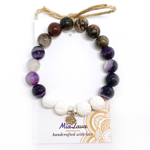 MiaLava | AROMATHERAPY DIFFUSER BRACELET - EARTH GODDESS - SILVER TREE OF LIFE CHARM